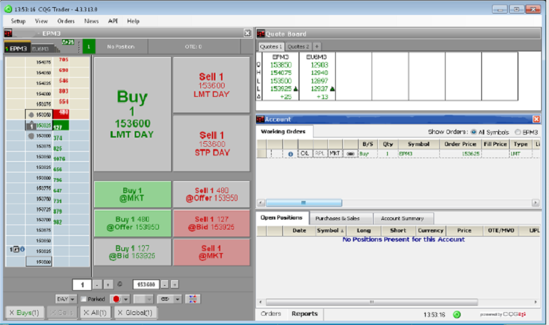 Trading terminal for futures