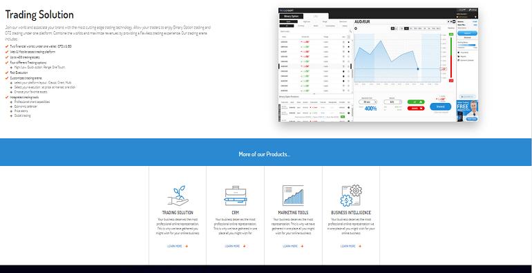 интерфейс платформы бинарных опционов